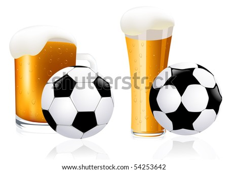 Football and beer, vector illustration