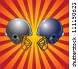 Football Helmets Colliding is an illustration of two football helmets facing each other as if ready to collide with a sunburst background. - stock vector