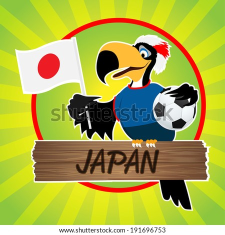 Football Mascot (Bird) Characters with flag on Light Green Background. Vector Illustration Eps. 10
