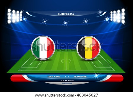 Football or soccer playing field with set of infographic elements. Vector illustration.