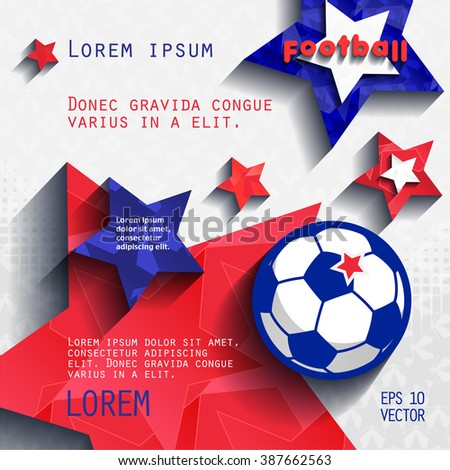 football soccer background with stars, grass and ball, in the colors of the national flag of France. cover vector eps10