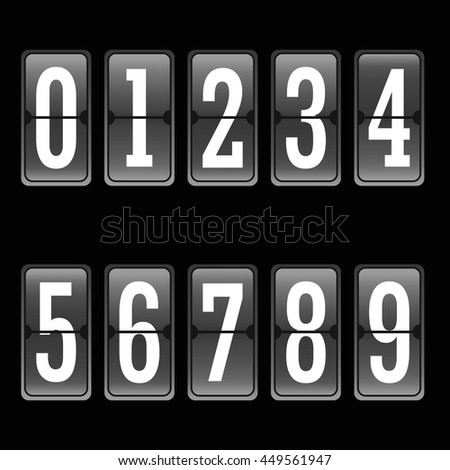 Football soccer scoreboard numbers set from 0 to 9