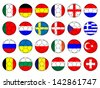 Footballs with Flags of Europe - stock photo