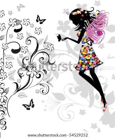 Set Fairies Butterflies Stock Vector 131648666