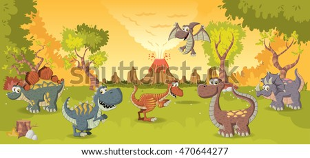 Forest with volcano and funny cartoon dinosaurs. Prehistoric nature landscape.