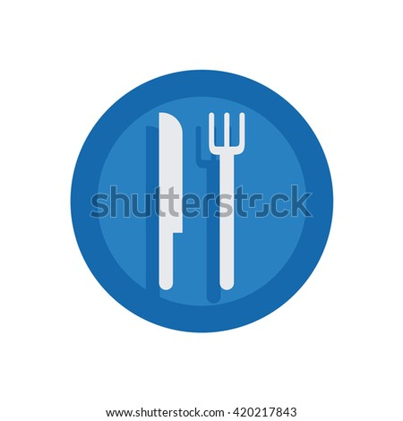 Fork and Knife Illustration - Flat Icon