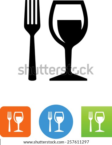 Fork and wine glass symbol for download. Vector icons for video, mobile apps, Web sites and print projects.