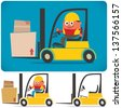 Forklift Driver: Cartoon illustration of forklift with and without driver. No transparency and gradients used. - stock vector