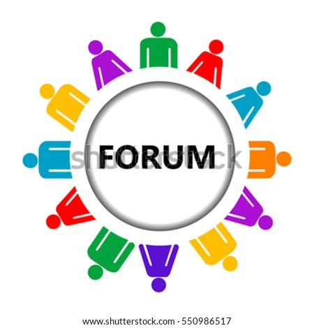 Forum icon with group of stylized people on white background