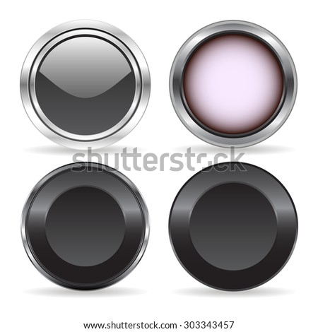 Four abstract technology buttons