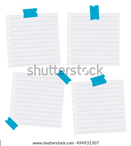Paper Tape Blank Lined Paper Notes Vector 420970567 – Four Ruled Paper
