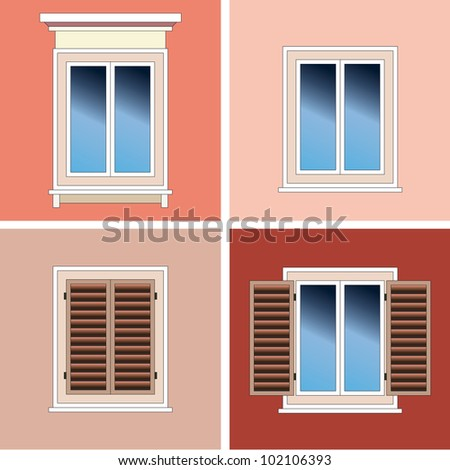 Four classical types of arched windows with brick over stucco background stock vector - Types shutters consider windows ...
