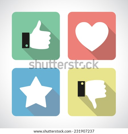 four colorful flat icons with long shadow thumb up thumb down star and
