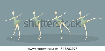 Four dancing girls in green dresses on green background, set.