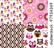 Four easy to edit seamless retro owl flower spring pattern background in vector - stock vector