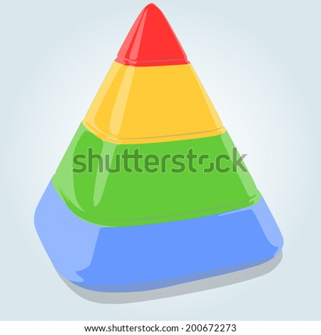 Four layers pyramid on bright blue background. EPS 10 vector illustration