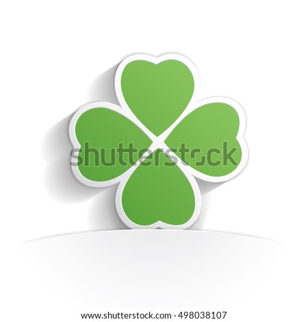 four leaf clover icon paper style full vector