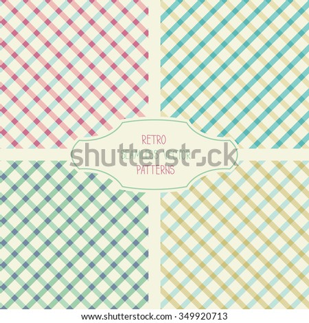 Four retro seamless vector patterns. Can be used in web design, printed on fabric/paper, as a background, or as an element in a composition.