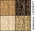 Four seamless bamboo texture in shades of brown - stock photo