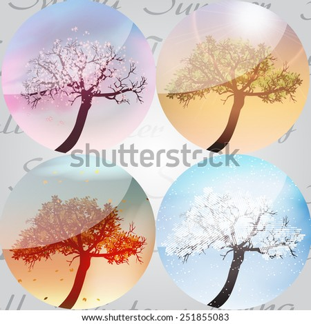 Four Seasons in Crystal Ball  with Abstract Trees - Vector Illustration