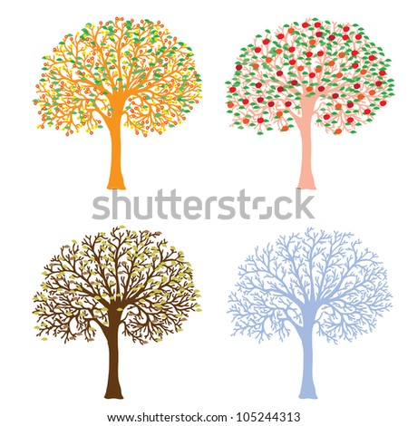 Four seasons- spring, summer, autumn, winter. Art tree beautiful for your design