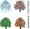 Four seasons �¢?? trees in spring, summer, autumn, winter - stock vector