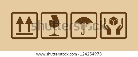 fragile symbol on cardboard - illustration