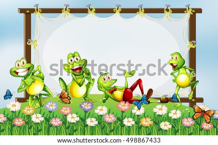 Frame design with green frogs in the garden illustration
