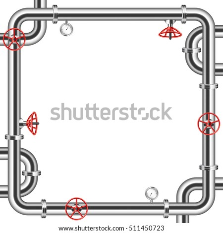 Frame from metal pipes isolated on white background vector
