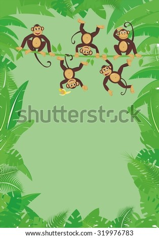 Frame from tropical leaf with cheerful monkeys frolicking on the vine