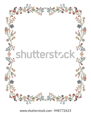 round frame flowering buds stock vector 451224076