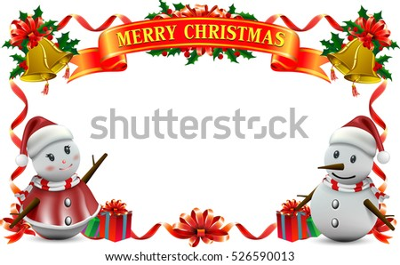 Frame ribbon of Smiling snowman and Santa Clause, High detailed vector illustration ,Happy Merry Christmas and happy new year companions.