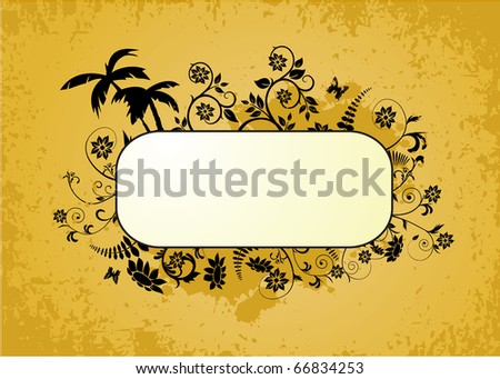 Frame with floral elements on the yellow