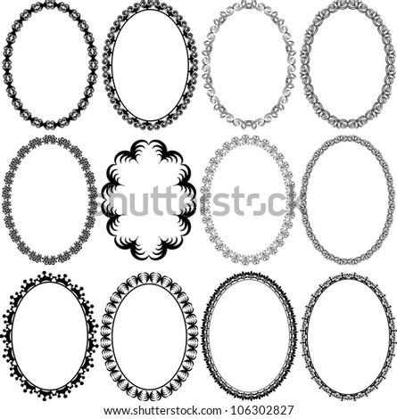 Ornate Oval Border Stock Vector 92764585 - Shutterstock