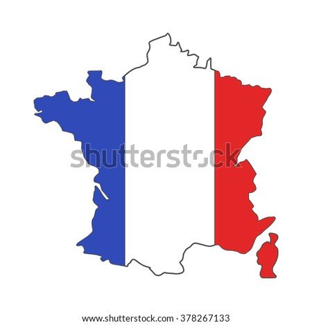 France euro championship 2016 flag design. Football background. Isolated France map with official colors. France tournament flag. Vector design.