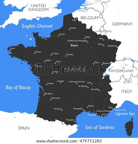 Germany Map Vector Detailed Color Germany Stock Vector - Germany map in english