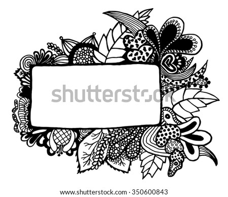 Free hand drawn border on white background. Vector illustration. Hand drawn.