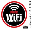 Free wifi and Internet Black Circle Sign with red border - EPS10 Vector - stock vector