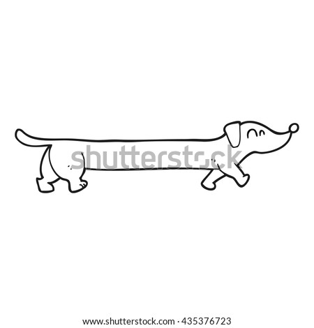 freehand drawn black and white cartoon dachshund