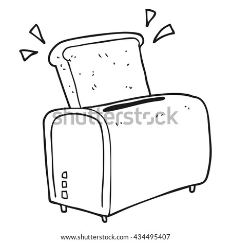 toaster clipart black and white. freehand drawn black and white cartoon toaster clipart
