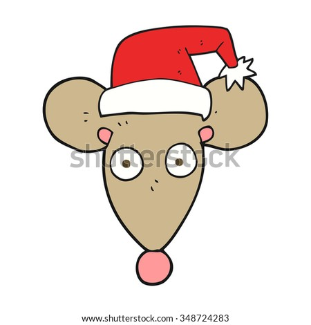 freehand drawn cartoon mouse in christmas hat