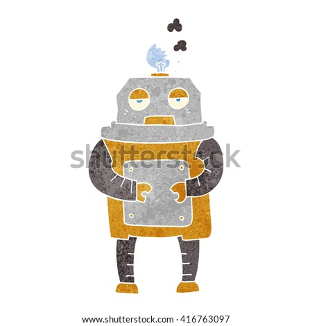 freehand retro cartoon broken robot
