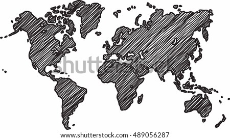 Freehand world map sketch on white background.