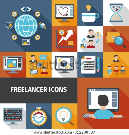 Freelancer work and remote office icons set isolated vector illustration