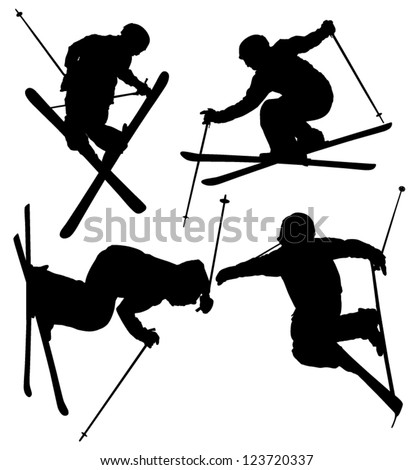 Freestyle Skier Silhouette on white background