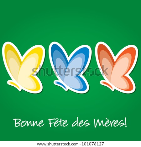 "French butterfly ""Happy Mother's Day"" sticker card in vector format."