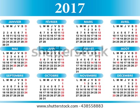 French calendar 2017 with festivities