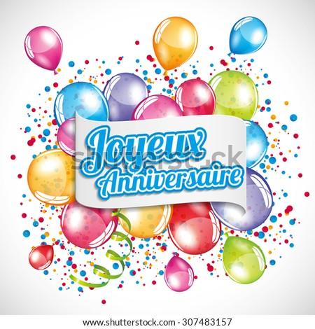 Vector Illustration Birthday Card Vector 212724337 – Happy Birthday Greetings in French