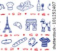 French icon symbol seamless pattern - stock photo