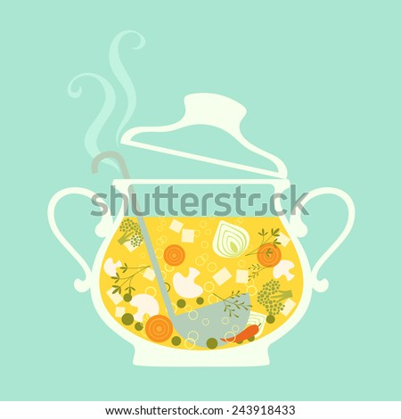 Fresh hot soup in glass tureen.